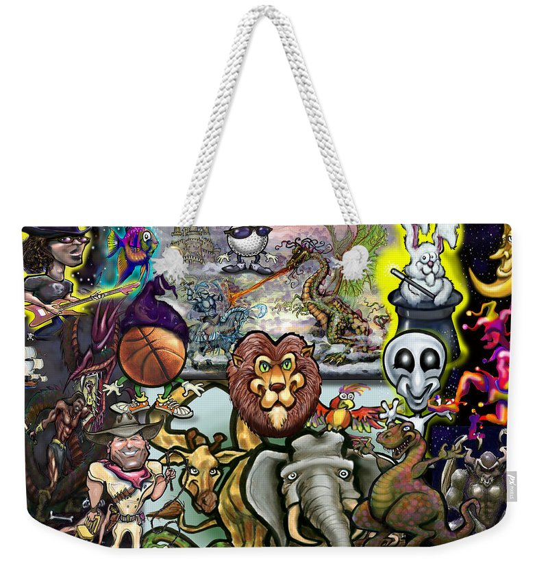 Story Weekender Tote Bag featuring the painting Storytime by Kevin Middleton