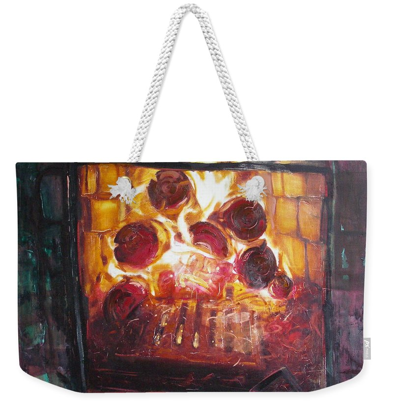 Oil Weekender Tote Bag featuring the painting Stove by Sergey Ignatenko