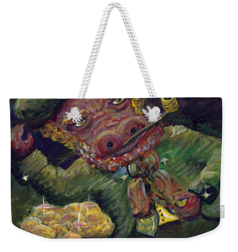 Hog Weekender Tote Bag featuring the painting St.patricks Day Pig by Nadine Rippelmeyer