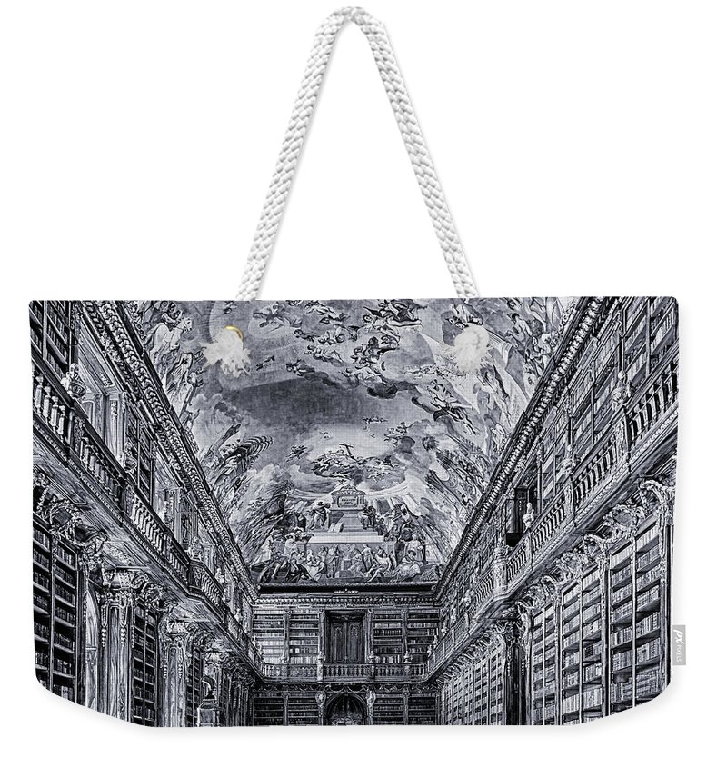 Strahov Weekender Tote Bag featuring the photograph Strahov Monastery Philosophical Hall Bw by C H Apperson