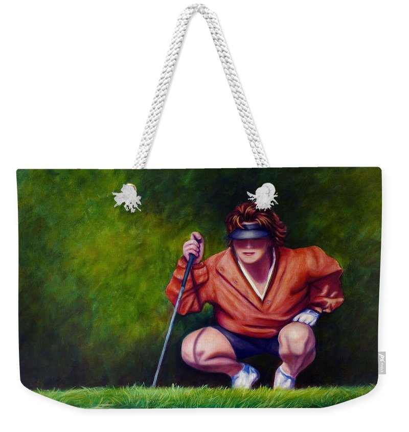 Golfer Weekender Tote Bag featuring the painting Straightshot by Shannon Grissom