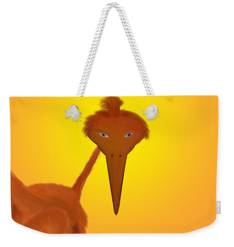 Children Weekender Tote Bag featuring the digital art Strange Bird by Unique Feathers