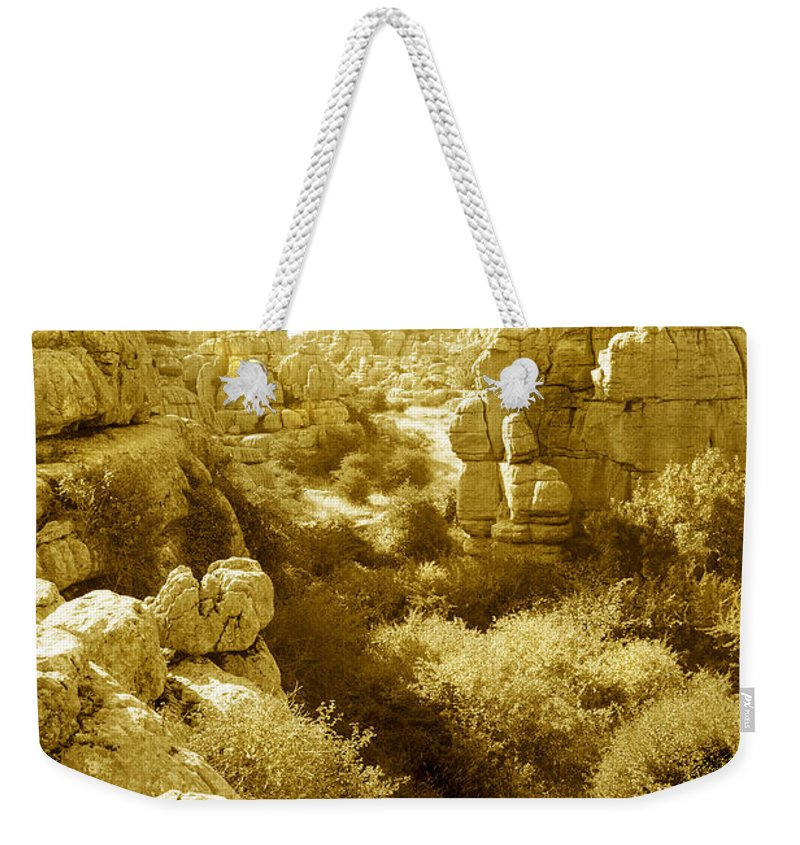 Rock Weekender Tote Bag featuring the photograph Strange Rock Formations At El Torcal Near Antequera Spain by Mal Bray
