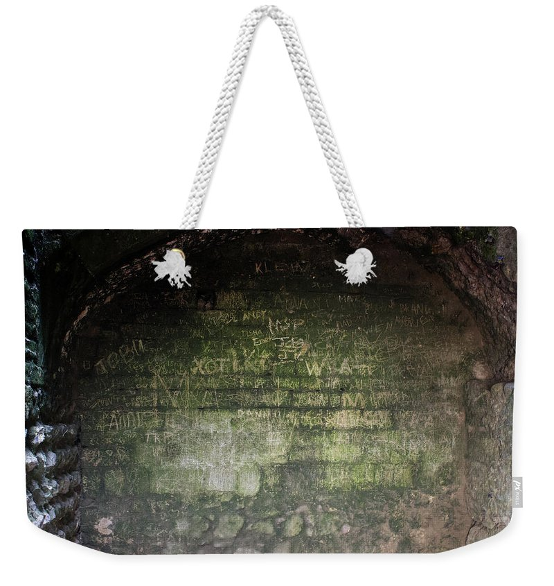 Castle Weekender Tote Bag featuring the photograph Strange Wall Marks by Martin Newman