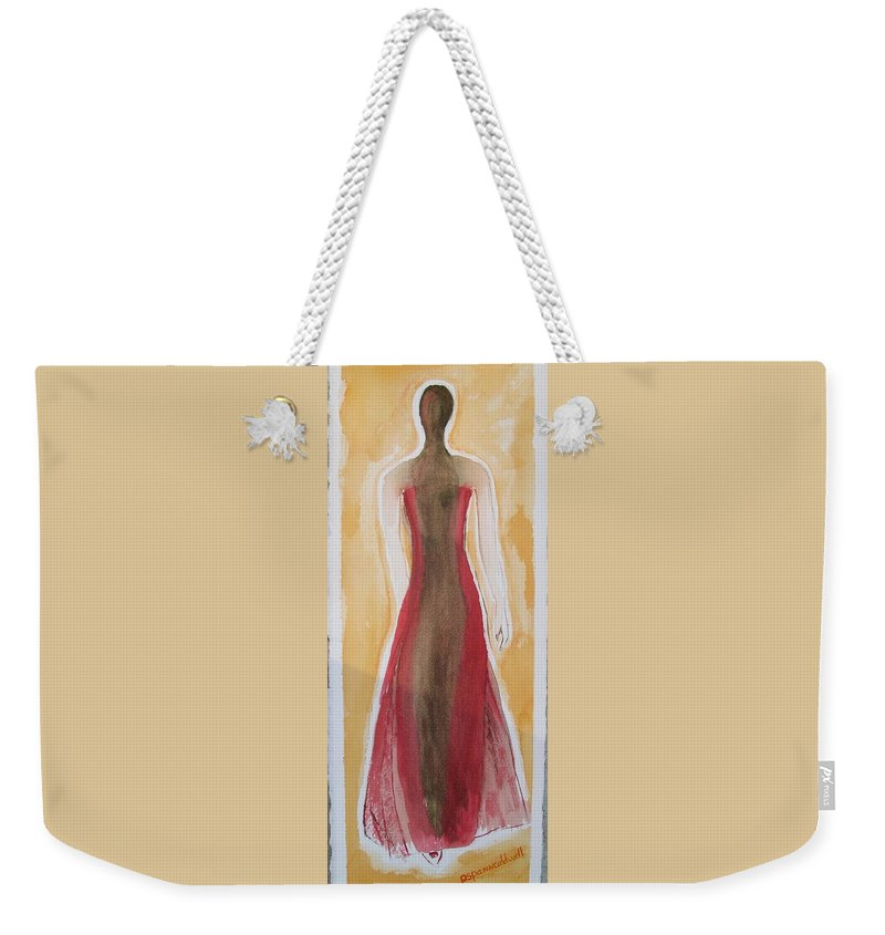Dress Lady Red Yellow Fashion Weekender Tote Bag featuring the painting Stranger by Patricia Caldwell