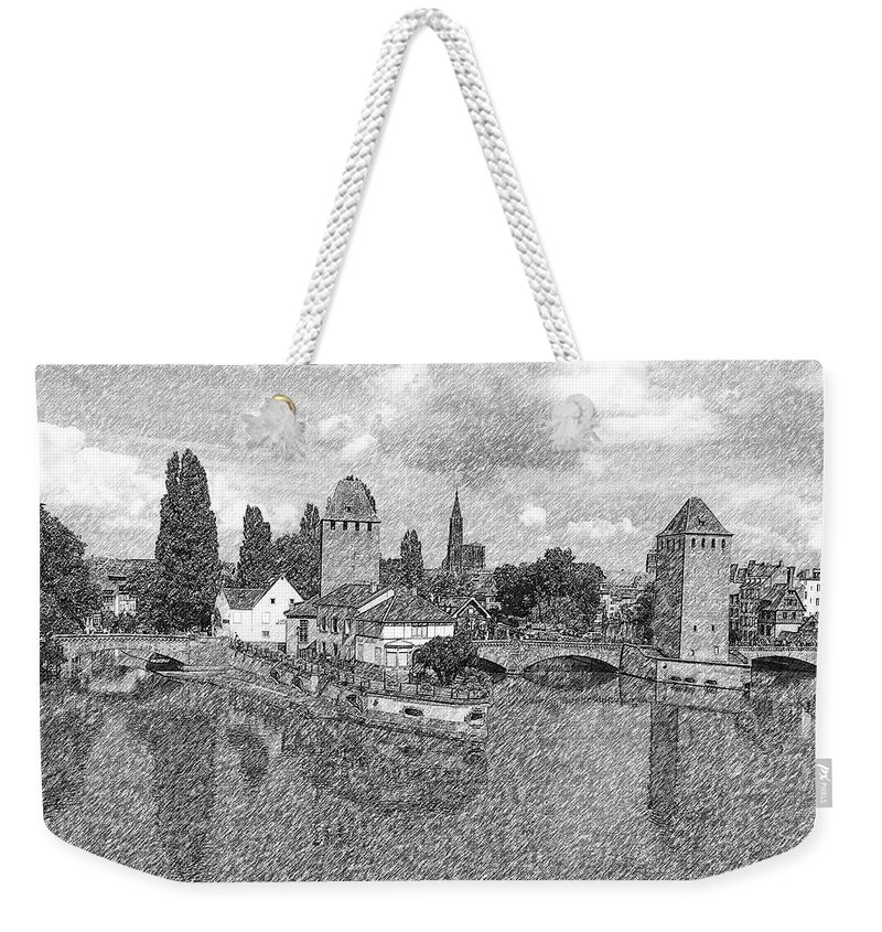 Gerlya Sunshine Weekender Tote Bag featuring the photograph Strasbourg. View From The Barrage Vauban. Black And White 2 by Gerlya Sunshine