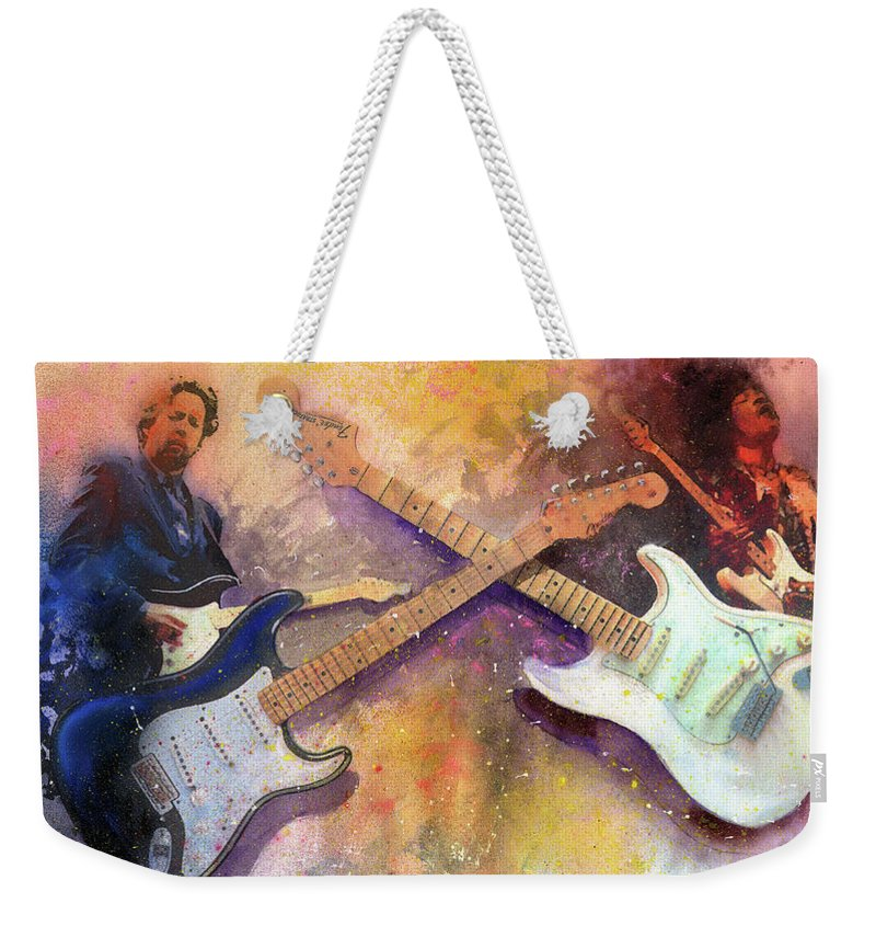 Eric Clapton Weekender Tote Bag featuring the painting Strat Brothers by Andrew King