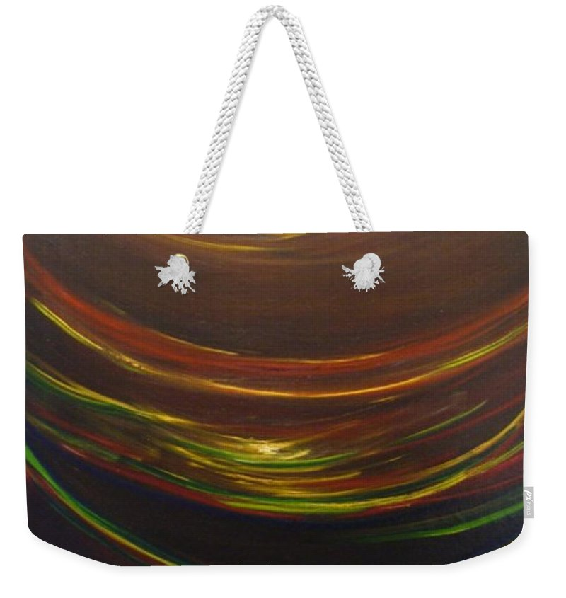 Rainbow Red Yellow Obama Weekender Tote Bag featuring the painting Strata Surf by Jack Diamond