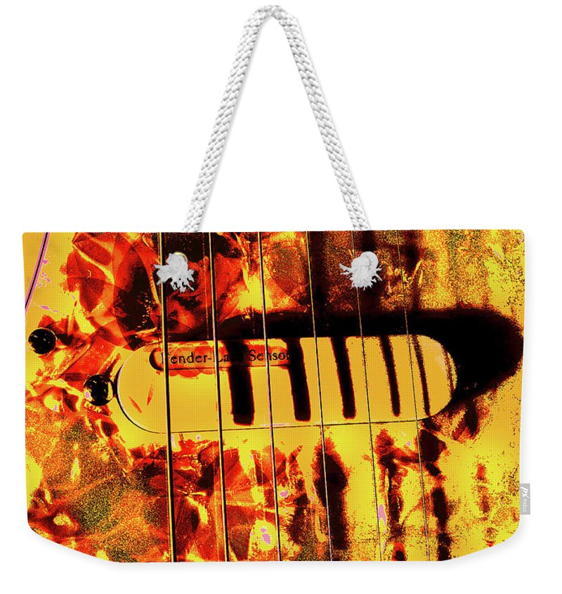 Lace Sensor Weekender Tote Bag featuring the photograph Stratocaster Strat Plus Lace Sensors Pop Art by Guitar Wacky