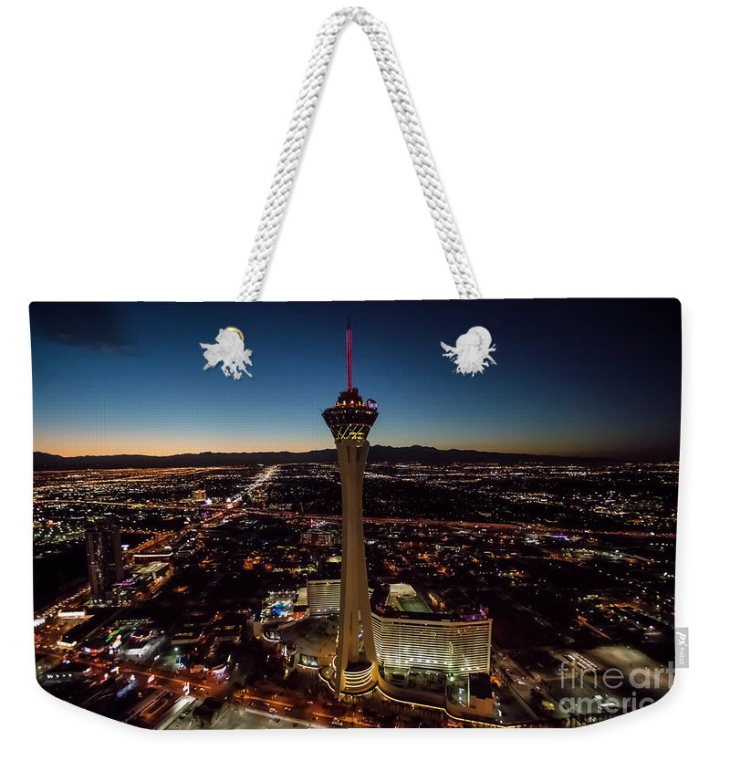 Las Vegas Weekender Tote Bag featuring the photograph Stratosphere Casino Hotel by Sv