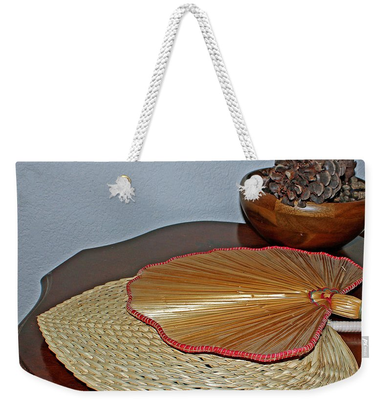 Antique Weekender Tote Bag featuring the photograph Straw Fans by Judy Vincent