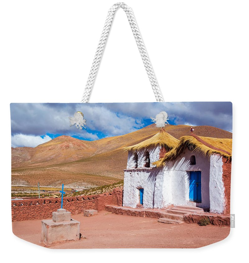 Church Weekender Tote Bag featuring the photograph Straw Roof Machuca Church by Jess Kraft