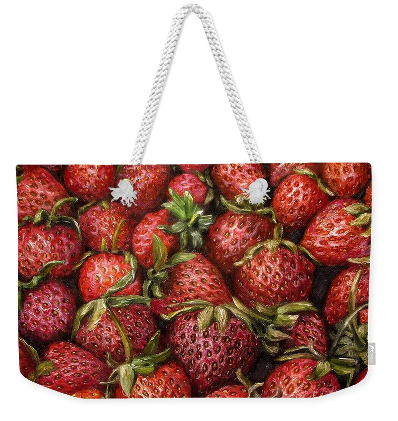 Garden Weekender Tote Bag featuring the painting Strawberries -2 contemporary oil painting by Natalja Picugina