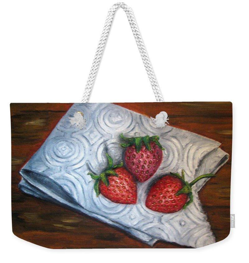Strawberries Weekender Tote Bag featuring the painting Strawberries-3 contemporary oil painting by Natalja Picugina