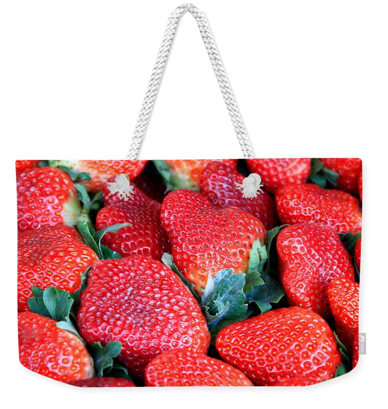 Strawberries Weekender Tote Bag featuring the photograph Strawberries 8 X 10 by Carol Groenen