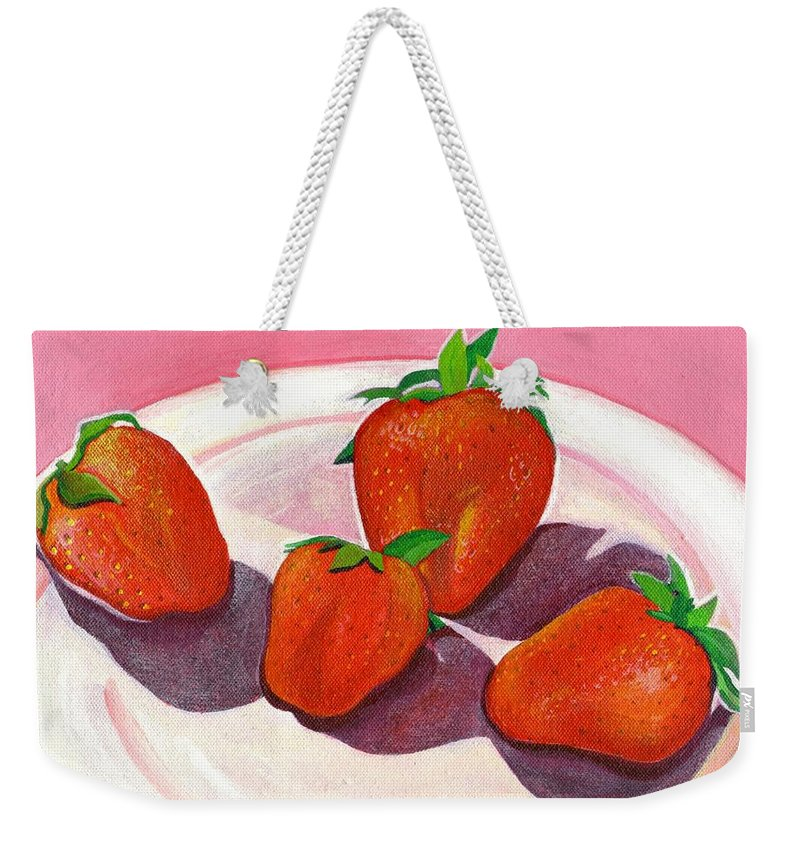 Food Weekender Tote Bag featuring the painting Strawberries And Cream by Helena Tiainen