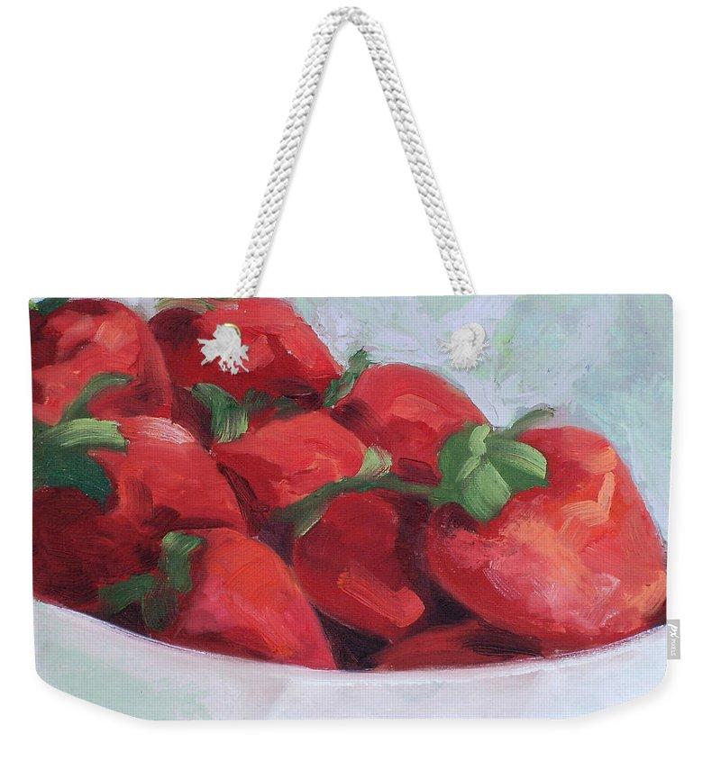 Strawberries Weekender Tote Bag featuring the painting Strawberries by Lewis Bowman