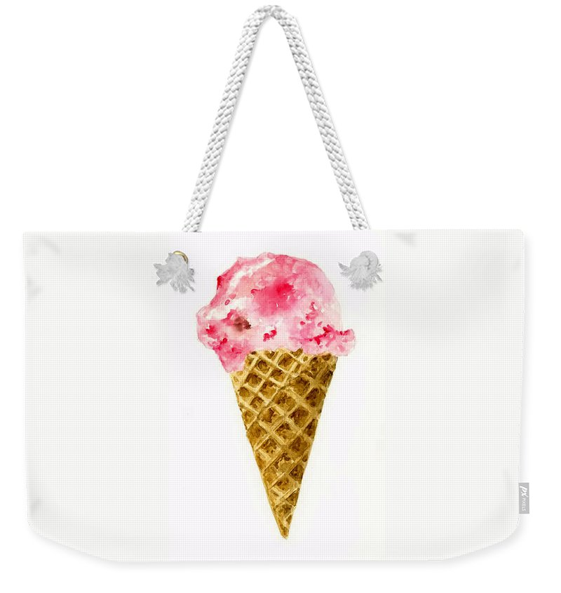 Food Weekender Tote Bag featuring the painting Strawberry Ice Cream Cone by Michael Vigliotti
