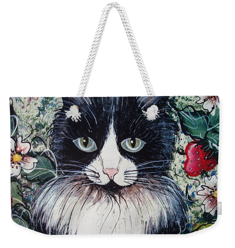 Cat Weekender Tote Bag featuring the painting Strawberry Lover Cat by Natalie Holland