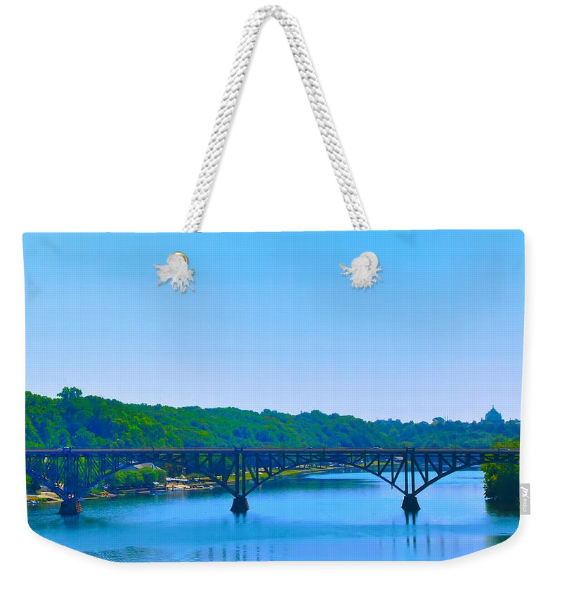Strawberry Mansion Weekender Tote Bag featuring the photograph Strawberry Mansion Bridge From Laurel Hill by Bill Cannon