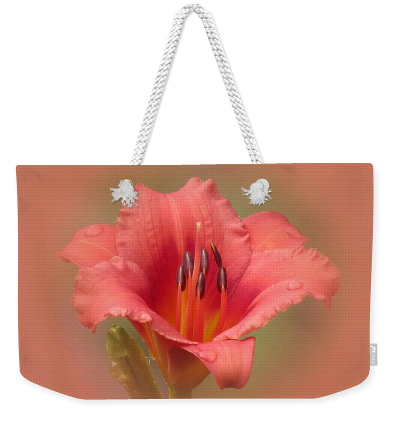 Daylily Weekender Tote Bag featuring the photograph Strawberry Shortcake - Daylily by MTBobbins Photography