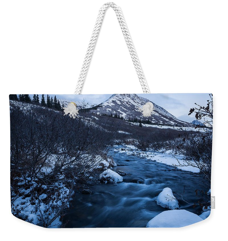 Alaska Weekender Tote Bag featuring the photograph Mountain Stream In Twilight by Tim Newton