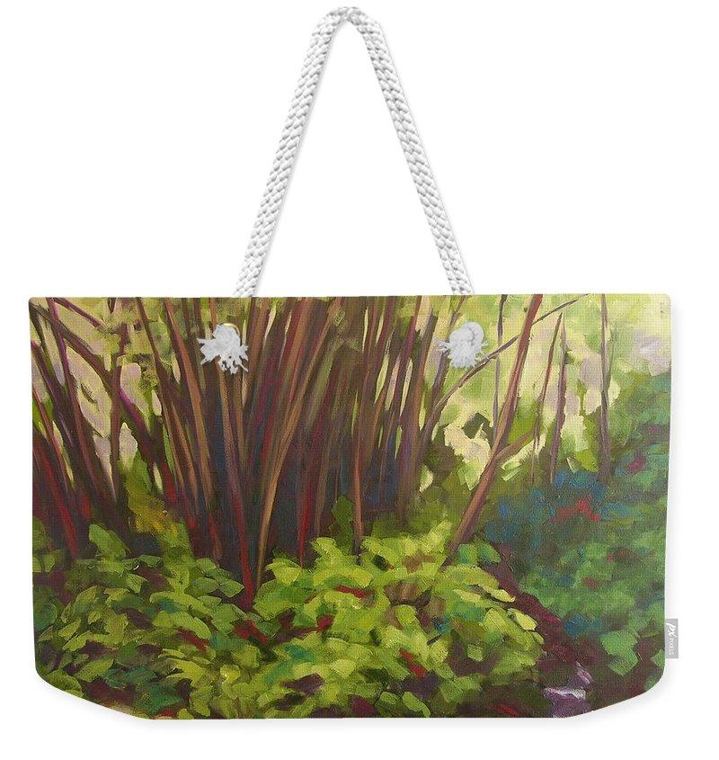 Hawaiian Weekender Tote Bag featuring the painting Stream Near Akaka Falls by Mary McInnis
