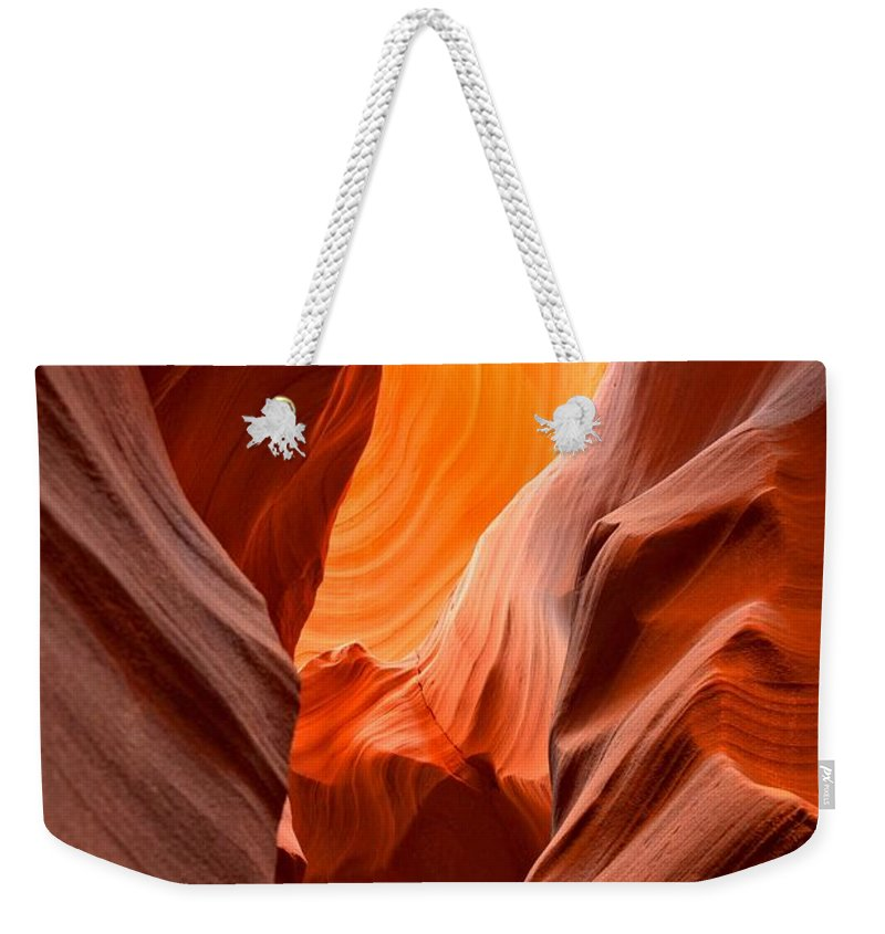 Upper Antelop Weekender Tote Bag featuring the photograph Streams Of Light by Adam Jewell