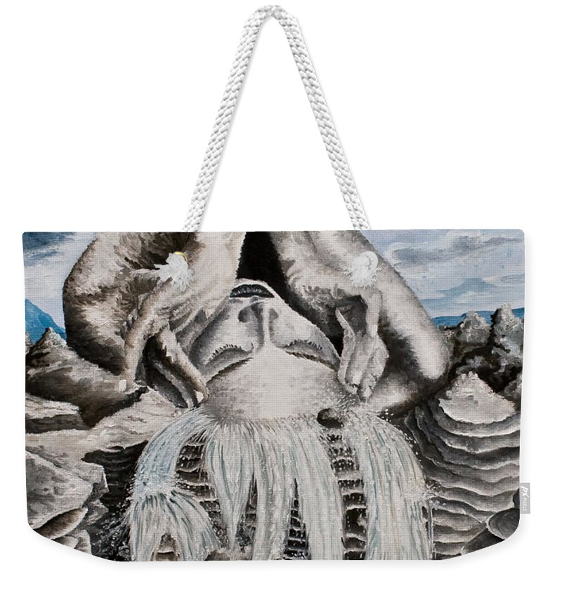 Landscape Portrait Woman Mountains Rocks Stream Water Weekender Tote Bag featuring the painting Streams Of Thought by Pauline Sharp
