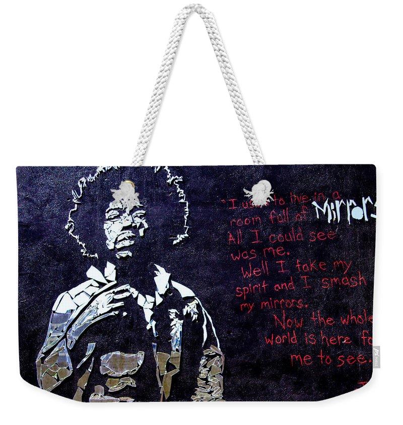 Jimmy Hendrix Weekender Tote Bag featuring the digital art Street Art - Jimmy Hendrix by Mia DeBolt