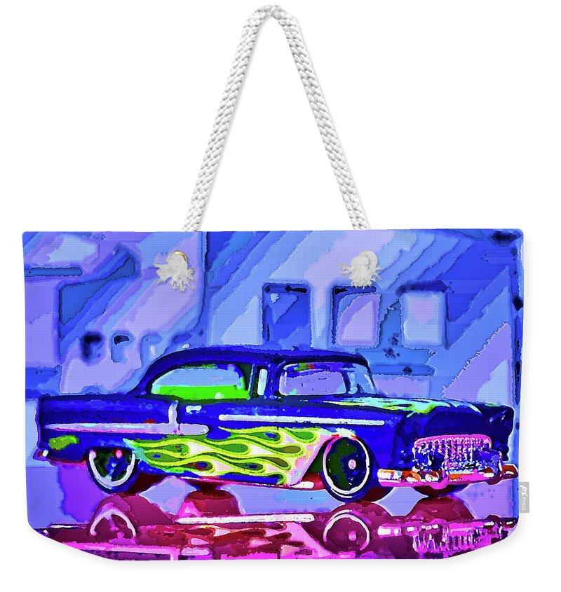 Street Cruiser Weekender Tote Bag featuring the mixed media Street Cruiser - American Way Of Drive 2 by Jean-Louis Glineur alias DeVerviers