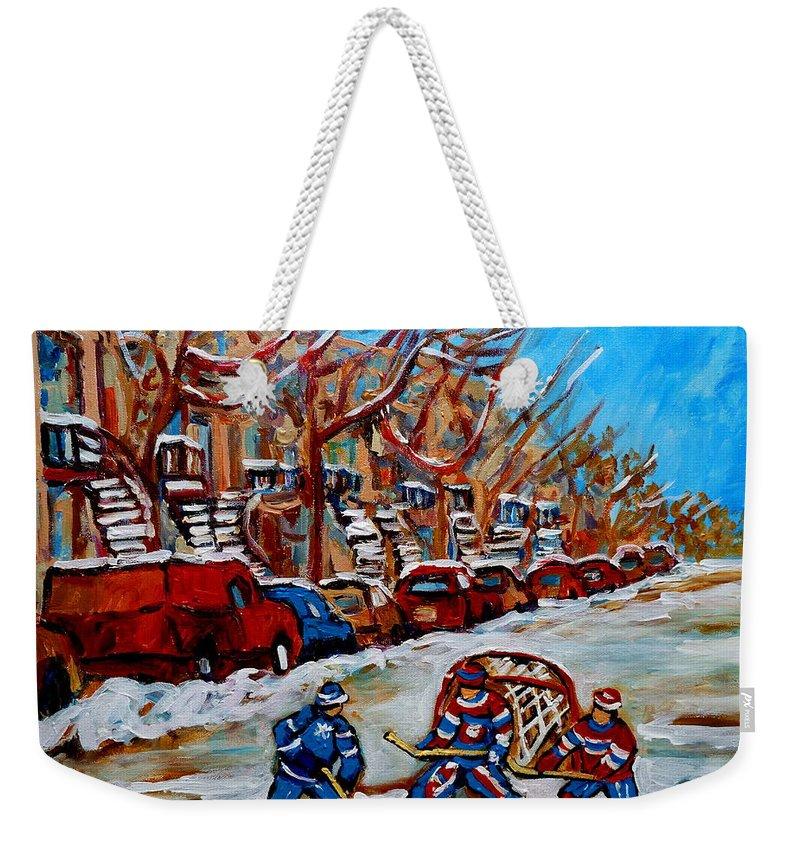 Street Hockey Hotel De Ville Weekender Tote Bag featuring the painting Street Hockey Hotel De Ville by Carole Spandau