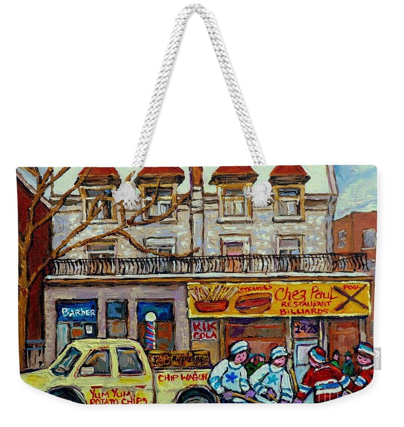 Montreal Weekender Tote Bag featuring the painting Street Hockey Pointe St Charles Winter Hockey Scene Paul's Restaurant Quebec Art Carole Spandau   by Carole Spandau