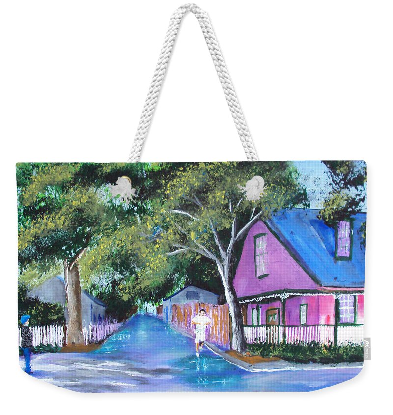 Weekender Tote Bag featuring the painting Street In St Augustine by Luis F Rodriguez