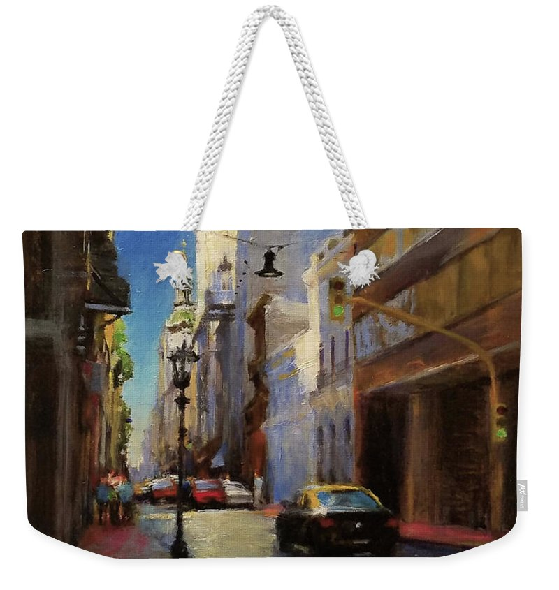 Landscape Weekender Tote Bag featuring the painting Street Scene In Buenos Aires by Peter Salwen
