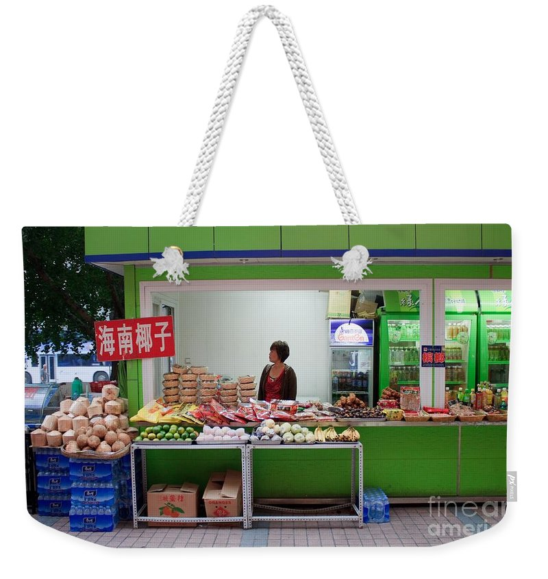 Stand Weekender Tote Bag featuring the photograph Street Vendor Beijing by Thomas Marchessault