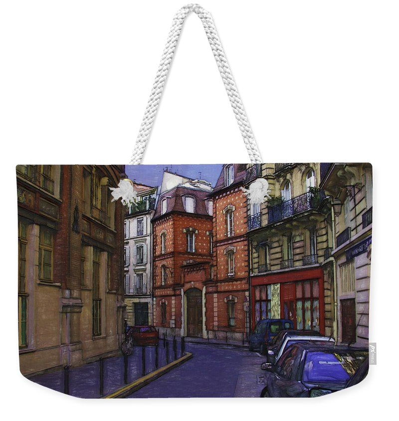 Notre Dame Weekender Tote Bag featuring the photograph Street View Of Paris by Mary Koenig Godfrey