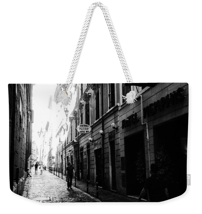 Rome Weekender Tote Bag featuring the photograph Streets Of Rome 2 Black And White by Angela Rath
