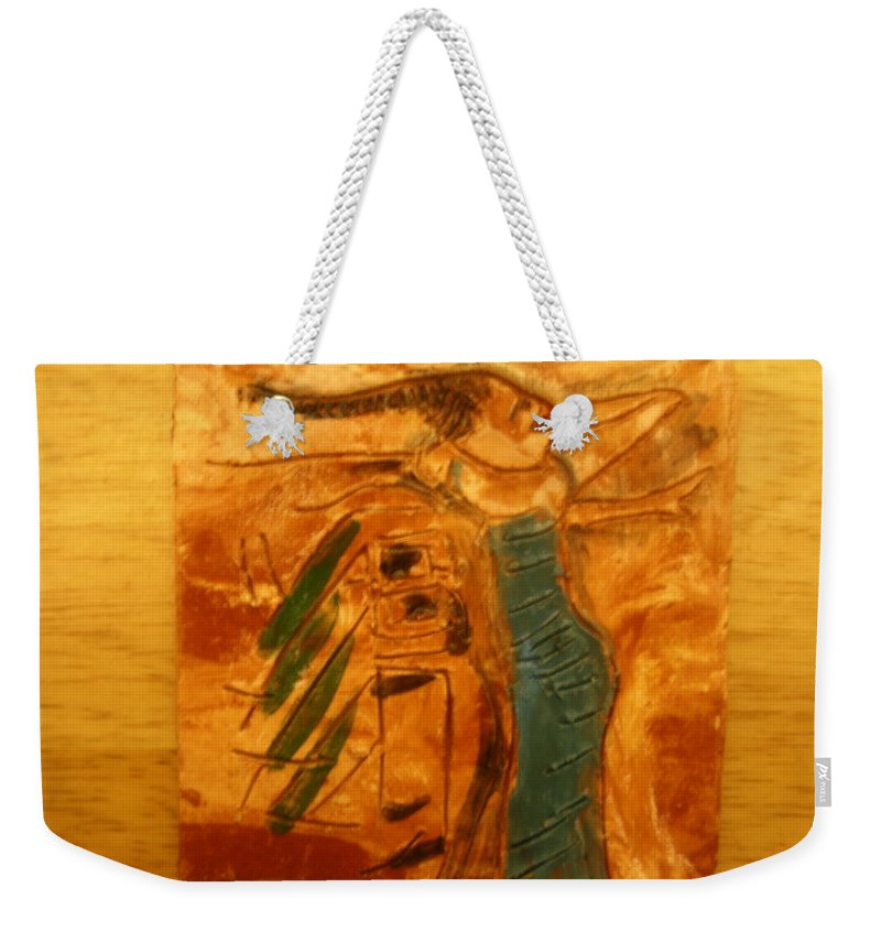 Jesus Weekender Tote Bag featuring the ceramic art Stretch - Tile by Gloria Ssali