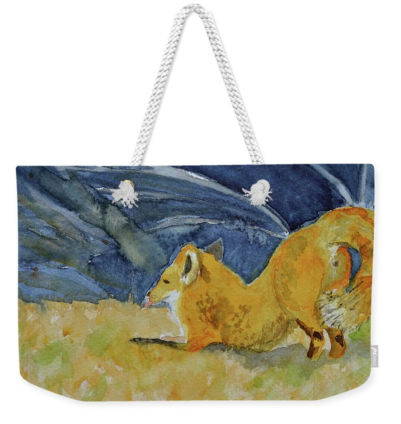 Fox Weekender Tote Bag featuring the painting Stretch by Beverley Harper Tinsley