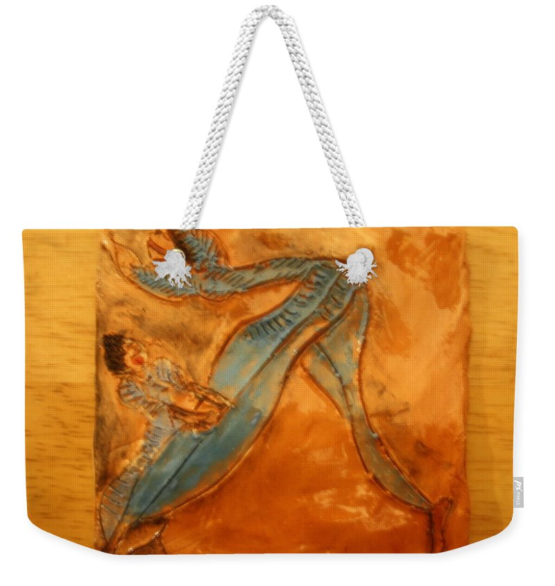 Jesus Weekender Tote Bag featuring the ceramic art Stretchy Legs - Tile by Gloria Ssali