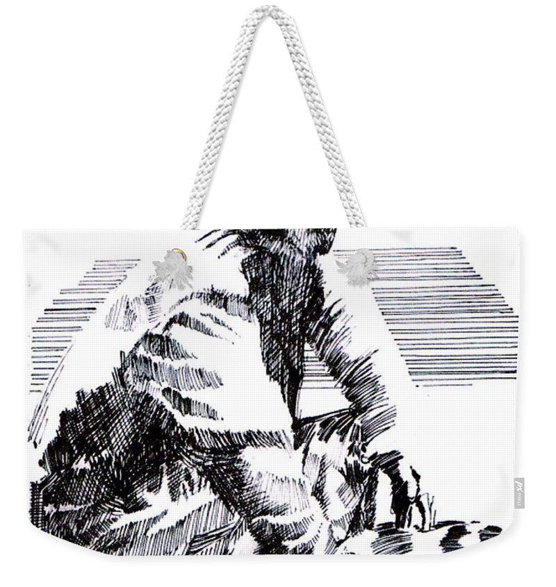 1850's Old West Weekender Tote Bag featuring the drawing Striking It Rich by Seth Weaver