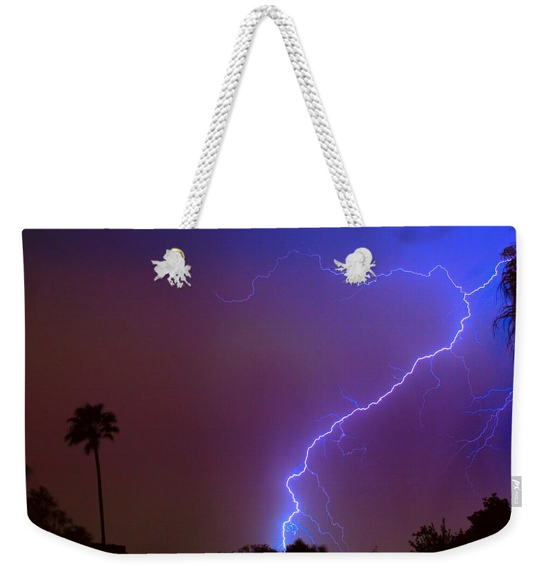 Lightning Weekender Tote Bag featuring the photograph Striking Out by James BO Insogna