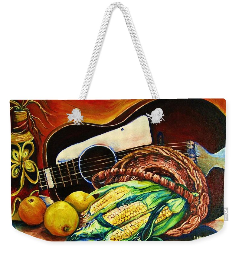 Country Life Weekender Tote Bag featuring the painting Strings Attached by Carole Spandau