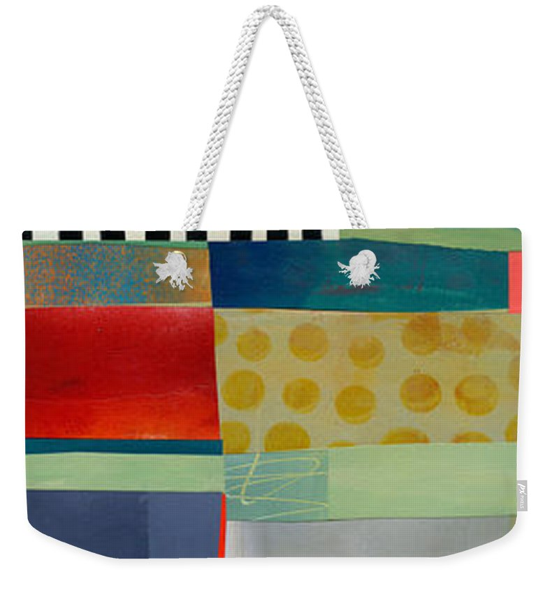 Abstract Art Weekender Tote Bag featuring the painting Stripe Assemblage 2 by Jane Davies