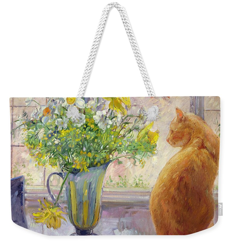 Ginger; Cat; Vase; Narcissi; Chicken; Pheasants Eye; Flower; Flowers ; Window; Open Window; Pheasant Weekender Tote Bag featuring the painting Striped Jug With Spring Flowers by Timothy Easton