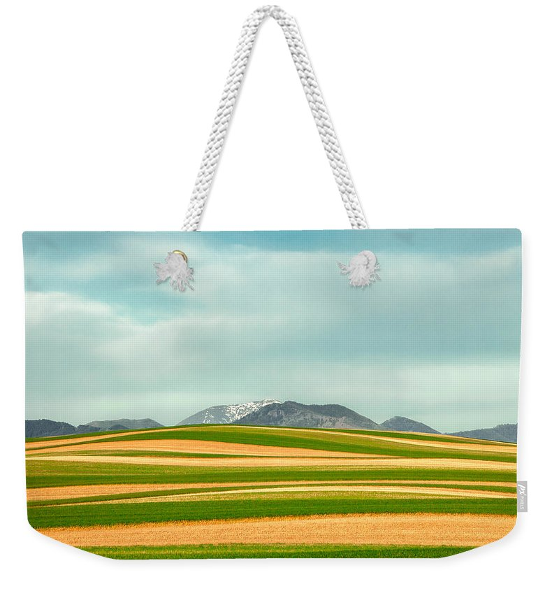 Crop Rotation Weekender Tote Bag featuring the photograph Stripes Of Crops by Todd Klassy