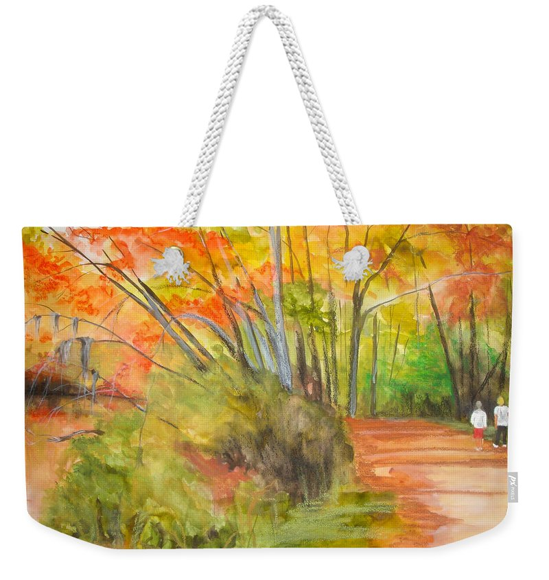 Landscape Weekender Tote Bag featuring the painting Strolling Along The Canal by Jean Blackmer