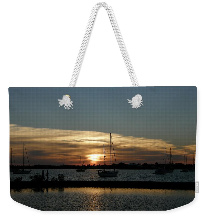 Sun Weekender Tote Bag featuring the photograph Strolling In The Sunset by Kimberly Mohlenhoff