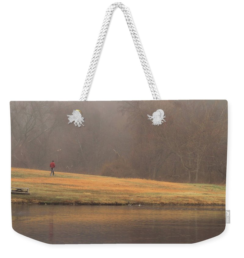 Fog Weekender Tote Bag featuring the photograph Strolling Thru The Park by Karol Livote
